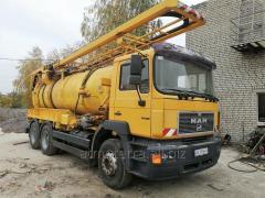 Услуги комбинированной илососной каналопромывочной машиной на базе Мерседес объемом 12 м. куб.