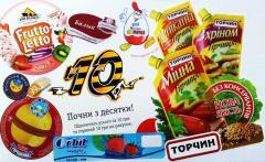 Press of a self-adhesive label, sticker, brand