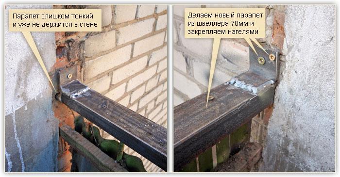 Укрепление парапета балкона.