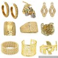 Gold dusting on silver jewelry and costume jewelry.