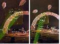 Лазерное шоу методом технологий Sky pictures проецирование изображения на «подвешенный» в воздухе огромный сетчатый экран с фосфоресцентными нитями
