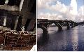 Ремонт железобетонной арочной части моста (снизу).